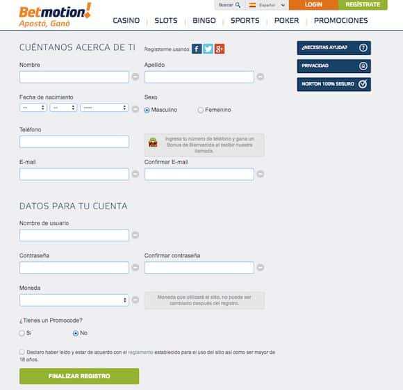 registro en betmotion